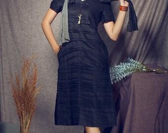 Linen Tunic Dress In Black / Pleated Dress / Black Kaftan / Maxi Black Dress / Loose Shirt Dress , Xl,xxl, Plus Size A8009