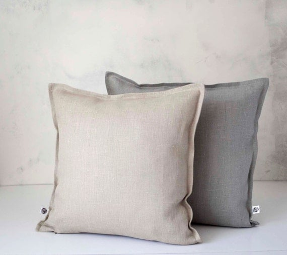 Set of decorative linen pillow covers grey and natural - decorative cases - throw pillows - cushion covers 0004