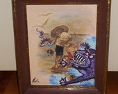 Thrift store painting repurposed artwork: Monster in the sea! Funny monster print