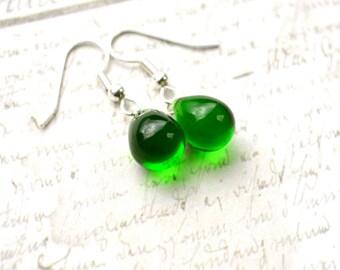 Emerald Green Earrings, Green Drop Earrings, Green Glass Earrings, Kelly Green Earrings, Green Teardrop Earrings, Kelly Green Jewelry, UK