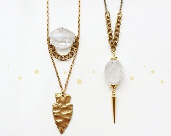 Crystal Quartz and Arrowhead Necklace, Crystal Quartz and Gold Spike Necklace, Rock Crystal Nugget, Brass Cable Chain