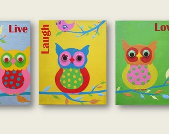 Live Laugh Love art PRINTS for kids three owls owl art print, Childrens Unisex Wall Art prints from my original acrylic painting Nursery art