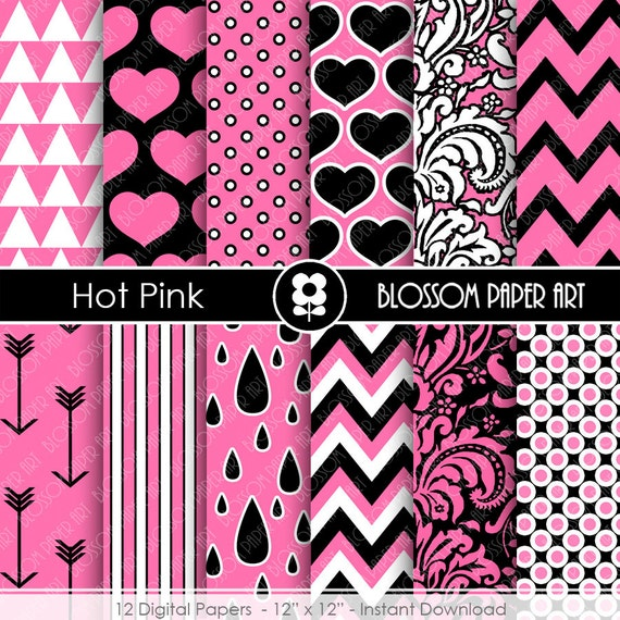 Digital paper hot pink and black digital paper pack girls hot - Papeles decorativos para pared ...