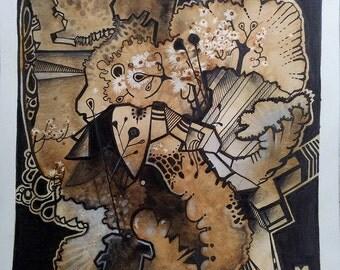 Strange art - contemporary art - Cosmic Canvas - small art - contemporary art - wall art - modern art - abstract art - original drawing