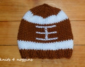 Knitted football, sport baby boy hat, college or nfl custom made to order hats