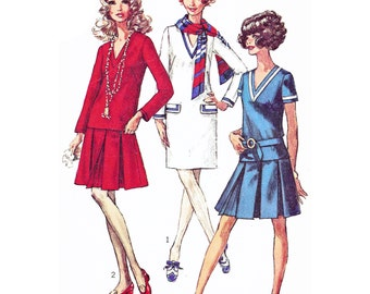 """1968 Vintage V-Neck Shift Dress with Flaps, Top, Pleated Skirt, Braid Trim for Nautical Look, Self-fabric Belt, Simplicity 7934 Bust 34"""""""
