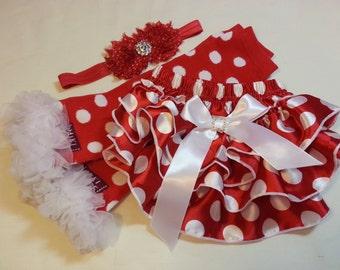 Matching Christmas Set, Red w White Polka Dot Ruffled Satin Baby Bloomers w White Bow, Ruffled Leg Warmers and Matching Headband