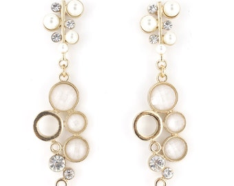 Gorgeous Gold-tone Crystal Pearl Shiny Bubble Drop Earrings D6
