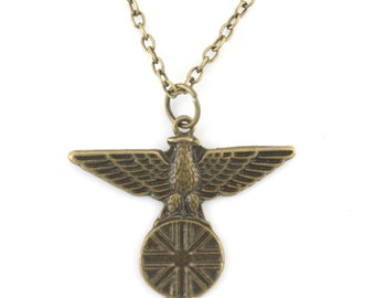 Vintage Feel Gold tone Eagle Pendant Necklace