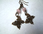 Bronze Butterfly with Pink Crystals Dangle Earrings