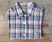 primary colors plaid shirt/ button-down// sz 9 young adult/ sz small womens