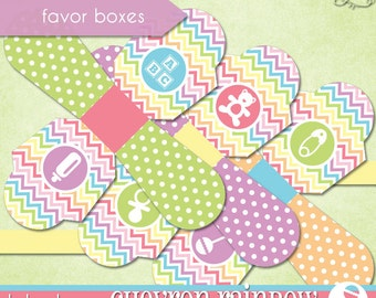 Chevron Rainbow Favor Boxes • PRINTABLE Baby Shower • by The Occasional Day