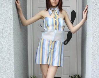 A 'Columbia' Blue and Yellow Stripe Shirt Dress
