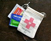 Wedding favor bags, muslin, 2x4. Set of 25. DIY Hangover Kit, first aid for wedding guests.  Funny wedding favor.