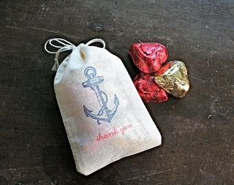 Nautical wedding favor bags, set of 50 double drawstring muslin bags. Vintage style anchor with Thank You in blue and red. Hand stamped.