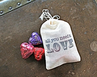 """Wedding favor bags, set of 50 drawstring cotton bags.  """"All You Need Is Love"""" in black vintage script. Bridal shower, party favor bags."""