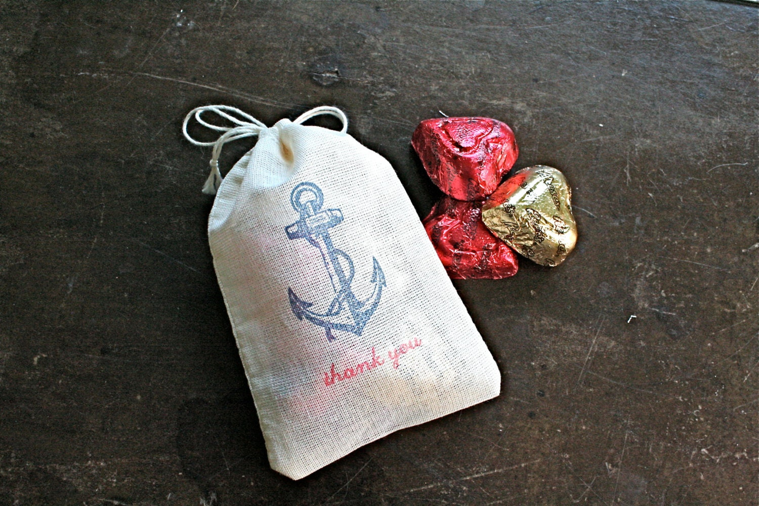 Nautical Wedding Favor Bags Set Of 50 Double Drawstring