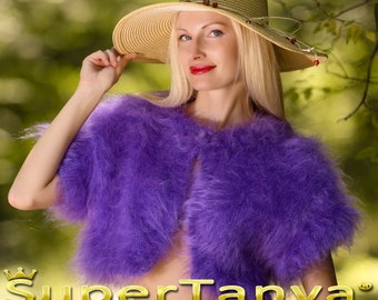 Custom made hand knitted mohair sweater bolero in purple by SuperTanya
