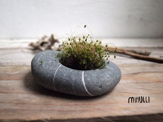 hand engraved beach stone flower planter - candleholder - zen design