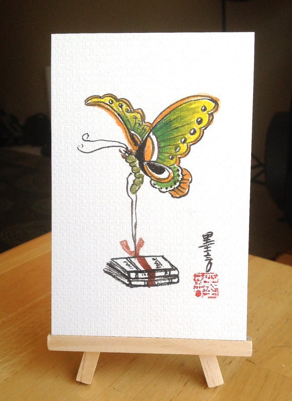 Etsy Butterfly Wall Decor : Items similar to butterfly painting chinese wall decor