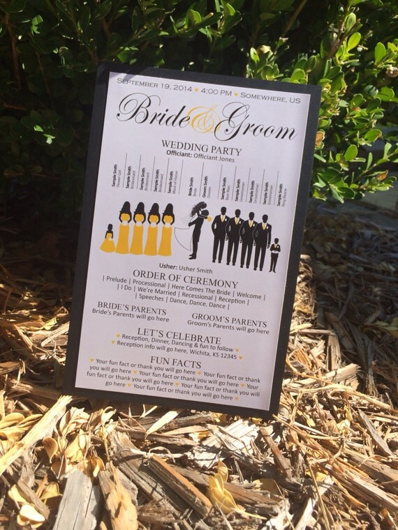 WE PRINT - Cardstock Backing Silhouette Wedding Program, You get to choose the silhouettes