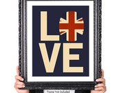 Love British Vintage Flag, Typography British Decor, Great Britain, United Kingdom, Union Jack, Union Flag, British Art Print, Blue, Red