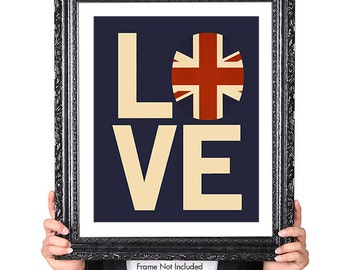 Love British Vintage Flag, Typography British Decor, Great Britain, United Kingdom, Union Jack, Union Flag, British Art Print, Blue, Red