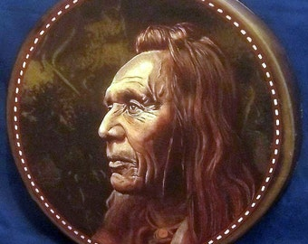 Handmade Hand Painted Native American Style Hoop Drum - THREE EAGLES