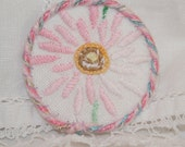 Embroidered Brooch - re-purposed vintage linen pink flower framed by couching