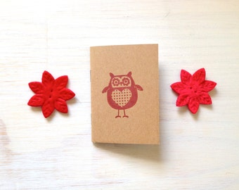 Notebook: Small Notebook, Red, Owl, Cute, Unique, For Her, For Him, Jotter, Kids, Gift, Journal, Cute, Stocking Stuffer, Cute Notebook KR100