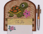 Happy Turtle and Flower Magnetic Embroidered Notepad Holder