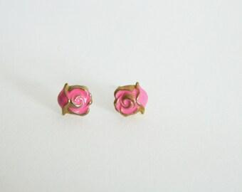 Tiny Pink Rose Earrings - OE002