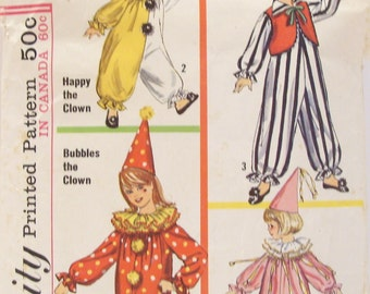 Simplicity Pattern # 6198 Child Small 4-6 Clown Costume