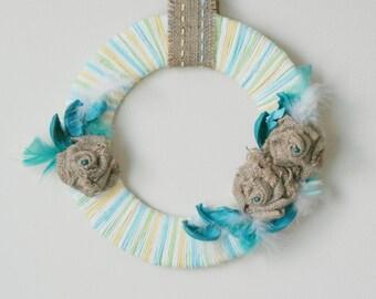 Beautiful Easter / Spring Wreath in Aqua / Teal / Turquoise