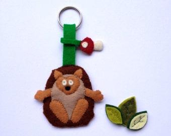 Key Ring Wool Felt Brown Hedgehog
