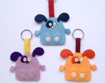 Key Ring Wool Felt Dog - choose your colour