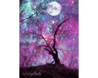FAIRY FOREST MOONLIGHT Art Print, Surreal Forest Stars Full Moon