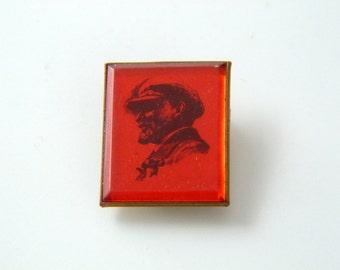 Vintage Soviet Russia Communist Badge Pin - Lenin Pin Button