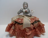 Antique Porcelain Half Doll Pincushion Decorative Home Decor Sewing with Pins