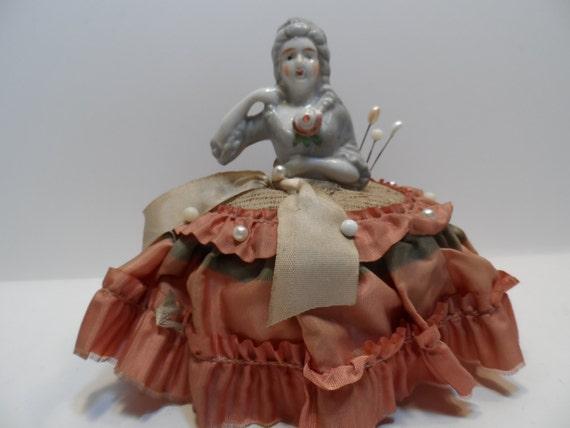 Antique Porcelain Half Doll Pincushion Decorative Home Decor