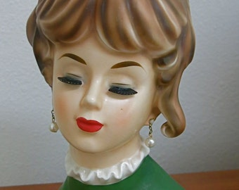 NAPCO C6986 Jumbo VINTAGE Lady Head Vase Headvase with Brooch, Rhinestone, Hairbow