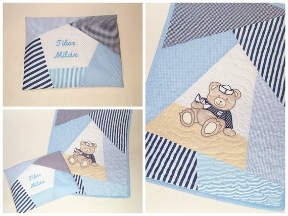 Blue Baby Quilt Set, Child Blanket, Hand Quilted Organic Kid's Blanket, Personalized Pillow, Appliqued Kid's Bedding