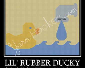 Lil' Rubber Ducky- Afghan Crochet Graph Pattern Chart - Instant Download
