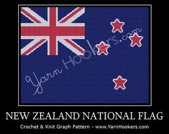 New Zealand National Flag - Afghan Crochet Graph Pattern Chart - Instant Download