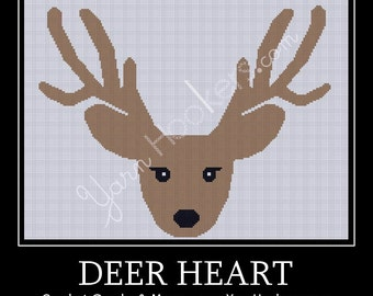 Deer Heart  - Afghan Crochet Graph Pattern Chart - Instant Download