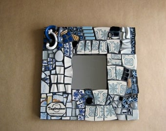 Mosaic Mirror, Mosaic Picture Frame, Blue Mosaic, Mosaic Wall Mirror, Mosaic Wall Art, Broken China, Pique Assiette, Wall Decor