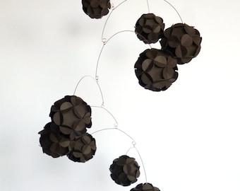 Chocolate Brown mobile, Kinetic home decor, Dark brown hanging mobile, paper balls mobile