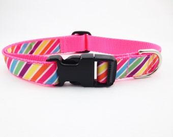 Large Bright Stripes Dog Collar