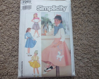 Vintage Simplicity Pattern 7269 Girl's Set of Skirts in Three Lengths Size 10-14