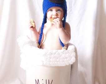 Crochet Cookie Monster Hat- Child Size
